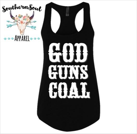 God Guns Coal Basic Racerback Tank Top, Country Shirt, Country Tank Top, Southern Tank, Concert Tank Top, Country Concert