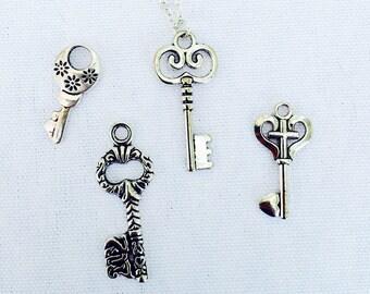 Long key necklace, silver key necklace, personalized necklace, bohemian necklace, long necklace, gold, silver necklace, skeleton key