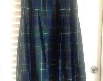 Vintage Pendleton Tartan Wool Pleated Skirt (Size 0-2 Equivalent)