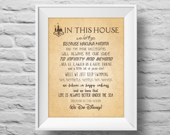 IN THIS HOUSE...Disney inspired unframed art print Typographic poster, inspirational print, wall decor, quote art. (R&R0106)