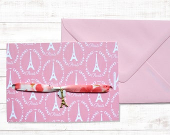 "Card mailing-bracelet liberty ""Paris la vie en rose"""