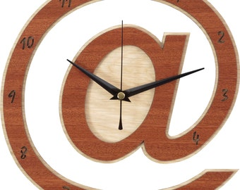 At Clock - @ Clock in wood - Arroba Clock