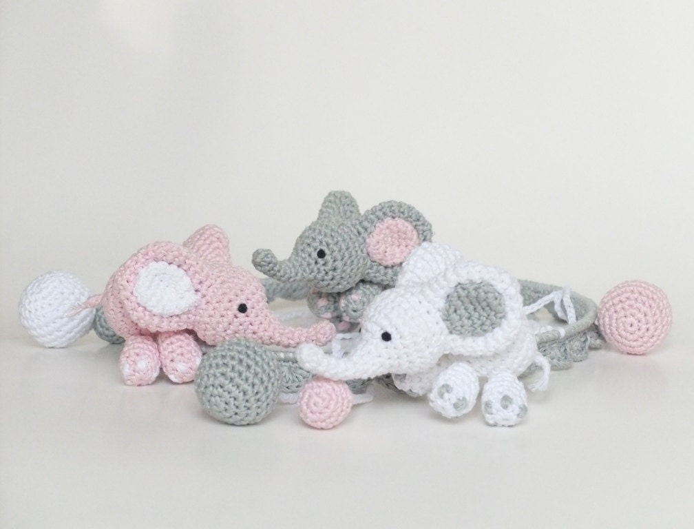 Elephant baby mobile pink elephant crib mobile nursery for Baby mobile pink and grey