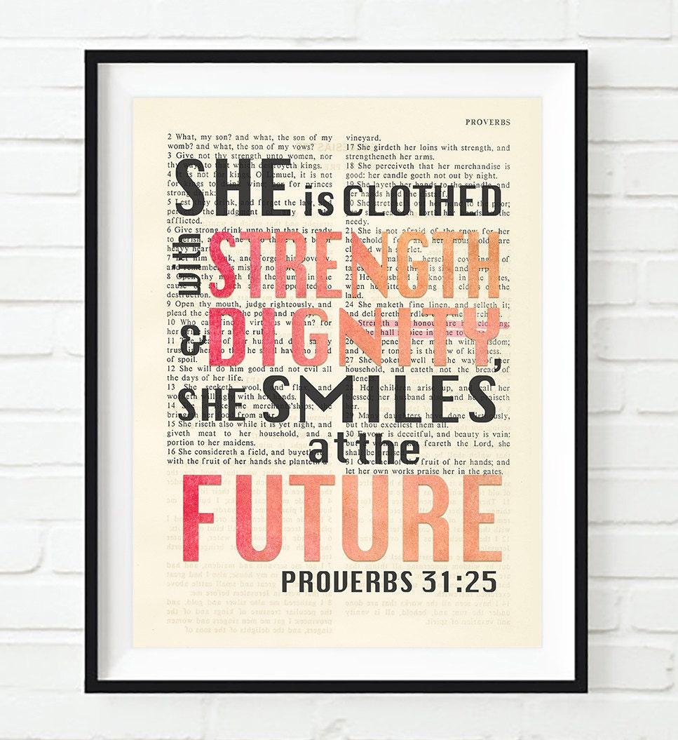 Verse She Is Clothed With Dignity: Vintage Bible Page Verse Scripture She Is Clothed Strength