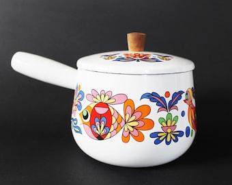 Fondue Pot. Enamel Cooking Pot. Enamelware. Vintage Enamel Pan. French Country. Bohemian Decor. Saucepan. Poêlon. Casserole. Caquelon. 70s