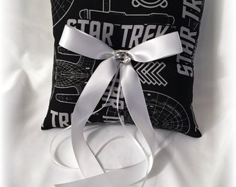 black and white star trek wedding ring bearer pillow star trek ring pillow geek - Star Trek Wedding Ring