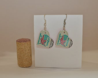 Small Heart Earrings made from Arizona Ice Tea can