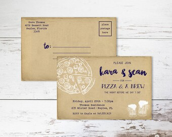 Pizza Party Rehearsal Dinner Invitation Postcard - PRINTED - Wedding Rehearsal
