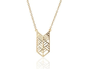 ethnic, finito de plata, geometrico,  Minimal, Delicate Necklace - Tiny Gold