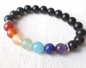 Chakra Bracelet Men Chakra Healing Crystal Bracelet, Mens Jewelry, Spiritual Gifts - Black Onyx and 7 Chakra Stones