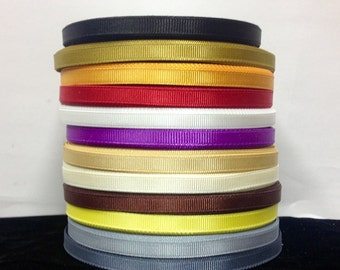 "25 Yards SOLID 1/4"" Grosgrain Ribbons  12 Different Colors"