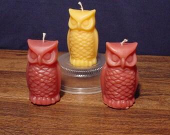 Set of 3 owl pillar candles