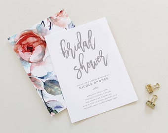 Calligraphy Bridal Shower Invitation | Simple Bridal Shower Invitation, Bridal Shower Invitation, Printable, Wedding Shower, Brunch