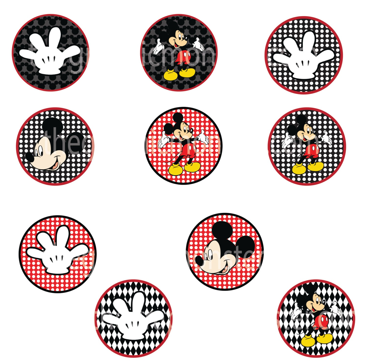 Mickey Mouse Printable Cupcake Toppers by TheGraphicMonsterMickey Mouse Cupcake Toppers