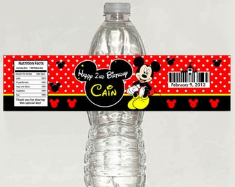 printable - Mickey mouse red polka birthday party water bottle label