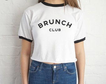 Brunch Club Crop Ringer Top Shirt Tee Cropped Fashion Grunge Slang Slogan