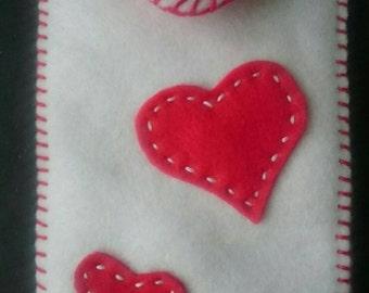 Cosy Felt Phone Case Love Heart