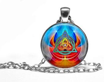 Celtic Triquetra Multicolor Handmade Pendant Necklace