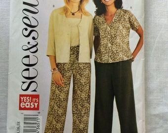 Butterick 3886 UNCUT New Misses Size B 14, 16 and 18 Jacket, Top and Pants Pattern