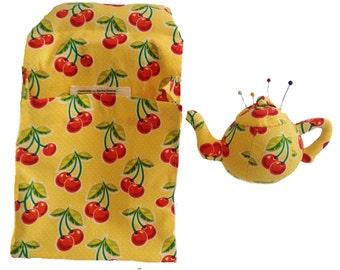 Fabric Scrap Bag, Teapot Pincushion Set, Sewing Scrap Caddy,Scrap Holder, Pin Cushion,Sewing Accessories,Walnut Shells,Gift SBTP103B
