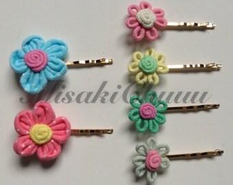 Fabric Flower Hairpins