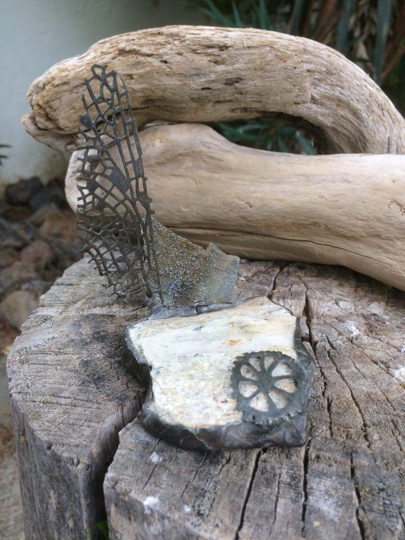 Natural Stone Art : Natural stone collage glass art home decor