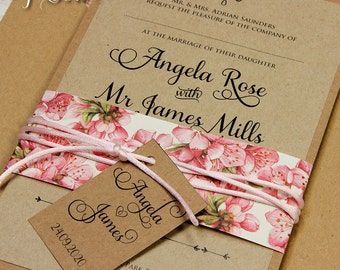 Eco Craft Paper Belly Band Personalised Rustic Vintage Pink Flowers Wedding Day Invitation with Lined Envelopes