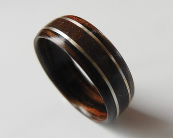 Bentwood Ring Dinosaur Bone with Silver on Macassar Ebony, Non-Metal ring, engagement, anniversary