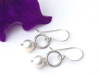 Pearl Drop Earrings, Sterling Silver