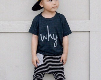 WHY? // (why? Why? Why?) Soft Dark heather Gray Kids Top for Inquisitive Boys & Girls, Toddler Sized, Birthday Gift for Kids