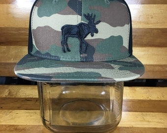 Moose Snap Back Hat - Flat Bill - Camouflage