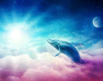 Take Me to Eternity - Signed Art Print - Fantasy Flying Whale in Clouds - Painting by Jonas Jödicke