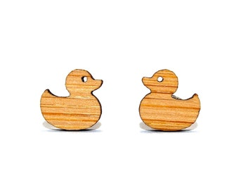 Duck Bamboo Stud Earrings, Wooden Duck Earrings, Rubber Duck Earrings, Rubber Duckie Studs, Duck Jewellery, Duck Weather, Birthday Gift