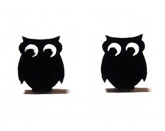 Night Owl Stud Earrings in Black, Black Owl Earrings, Owl Stud Earrings, Owl Studs, Owl Jewelry, Quirky Earrings, Woodland Earrings