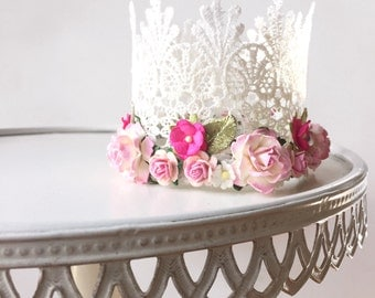 """The """"Elizabeth"""" crowns - white lace crown with pink flower trim"""