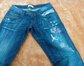 Denim pants painted