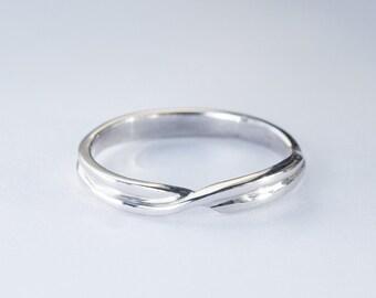 Wedding Band, Simple Wedding ring, White Gold Ring, 14K gold