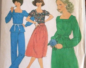 Vintage Simplicity 8356 1977 Misses' Blouse, Pants and Skirt Size 10 Sewing Pattern- 70's Retro, Square Neckline, Casual, Church
