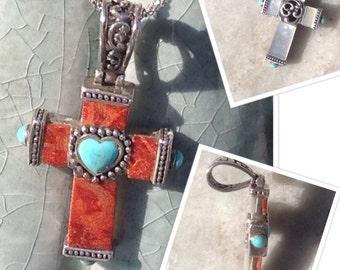 Cross Necklace,Reversible Cross Necklace,Turquoise Cross,MOP Cross,Gemstone Cross Necklace, Vintage Cross Necklace,Silver Cross Necklace