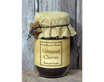 Primitive Candle, Country Candle, Rustic Candle, Ground Cloves Scented Jar Candle