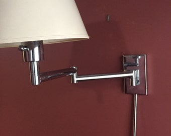 Pair Chrome Articulating Wall Sconce lamp light by Chapman 1976