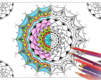 adult mandala coloring page printable mandala coloring sheet anti stress coloring art therapy - Art Therapy Coloring Pages Mandala