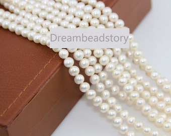 6-7mm Nearly Round White Pearls Supplies, Egg Round Shape Loose Pearl Beads for Wedding Jewelry DIY Making (XMZ8)