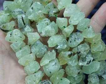 Raw/ Rough Natural Prehnite Chiltonite Beads, Freedom Green Gemstones and Minerals Loose Nuggets Chips Beads Supplies