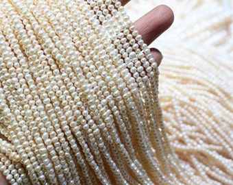 Loose Pearl Beads, Natural White Tiny Seed Freshwater Pearls 3mm Irregular Small Pearl Beads  (HX127)
