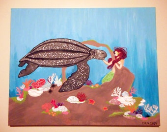 Leatherback Sea Turtle with Mermaid 16x20in. Canvas Wall Art, Fantasy Underwater Coral Reef Acrylic Traditional Painting Home Decor Original