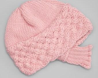 Pink Hand-Knit Flapper Cloche