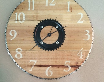 """Rustic Bike Clock with Pallet Wood and  Bike Chain and Parts - 16"""""""