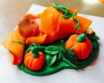 Fall Baby Shower Cake Topper, Pumpkin Blossom, Fondant, halloween Made to order