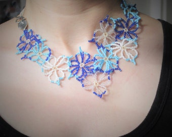 Handmade Blue, white flowers beaded necklace